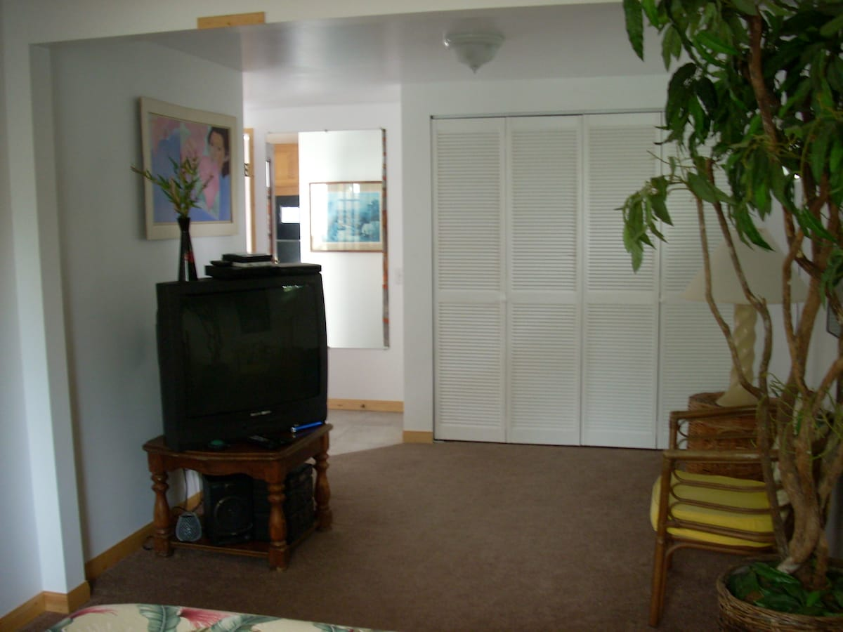 TV, Stereo system. Large closet