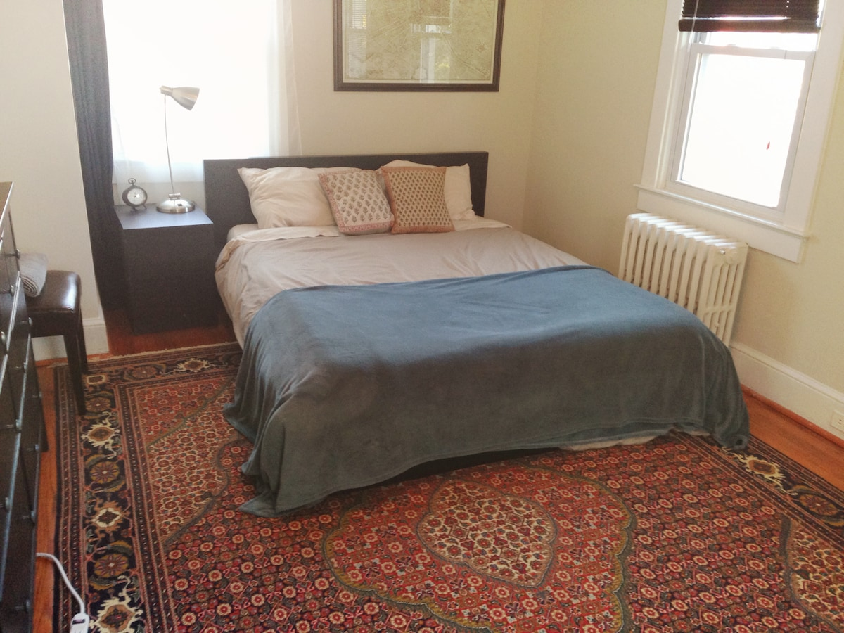 Your bedroom, lots of natural light, queen bed with tempurpedic mattress, central AC and radiant heating.