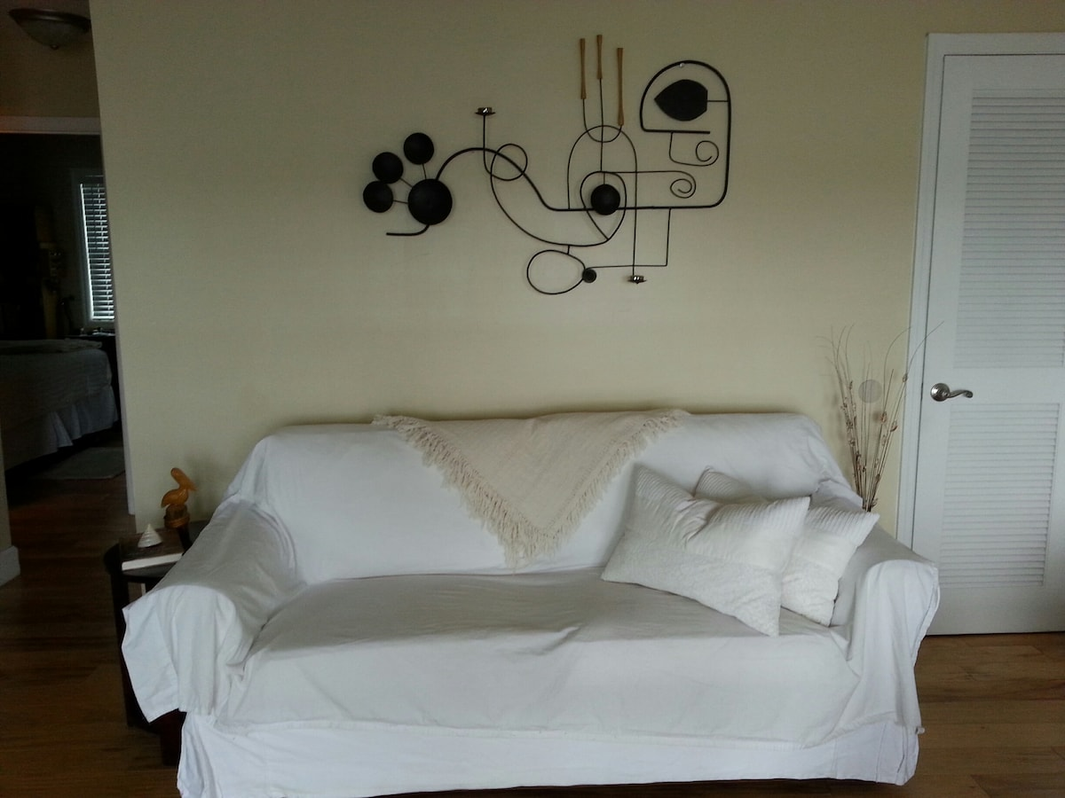 A sofa bed in the living room.