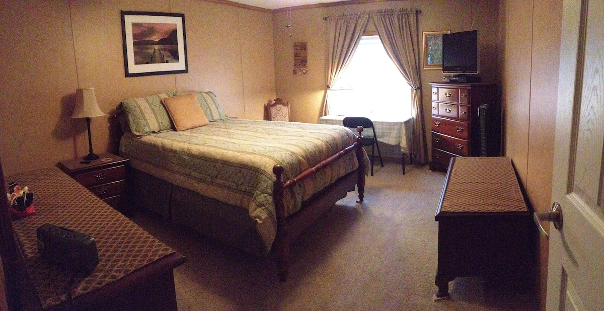 Classic Cherry Bedroom Set from the 60's with Full-Sized mattress/ boxspring with Full Allergy Protectors on bedding. Flat Screen TV, DVD Player, Desk, and Walk in Closet.