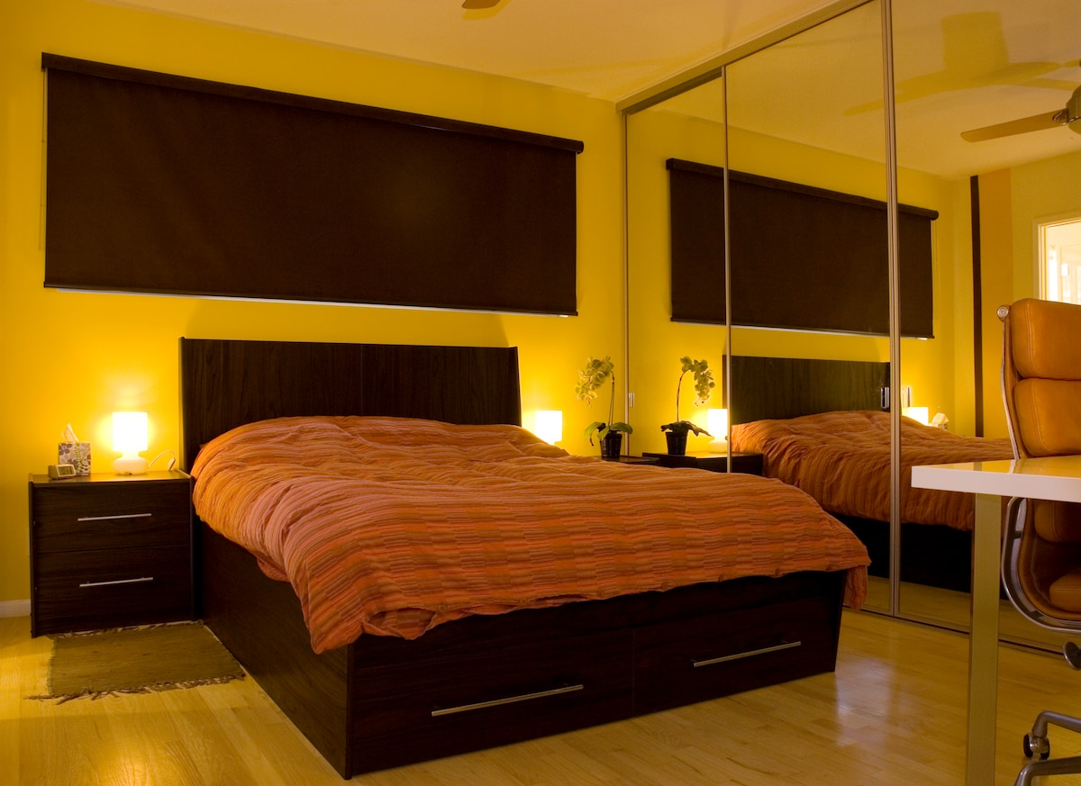 With these roller shades you can sleep (in) in total darkness when needed...