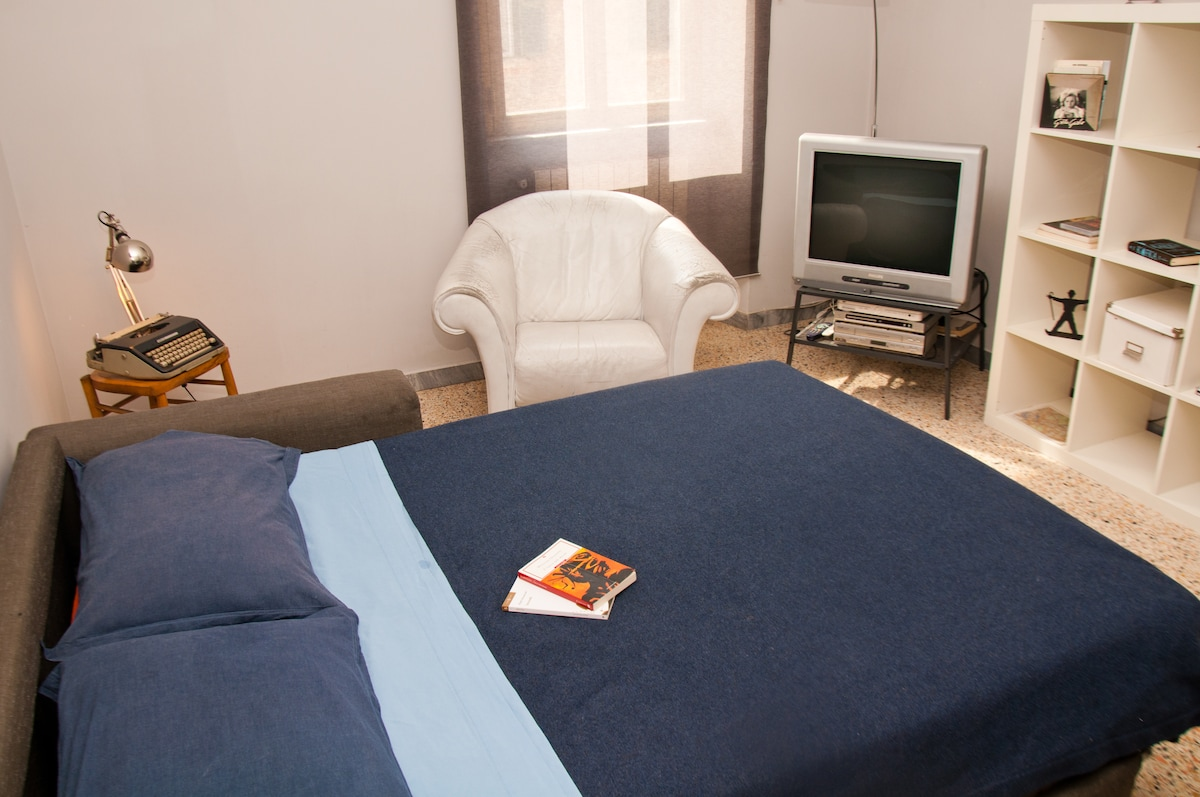 this is the salone with a big bed!! where you can relax and watch movies and listen music