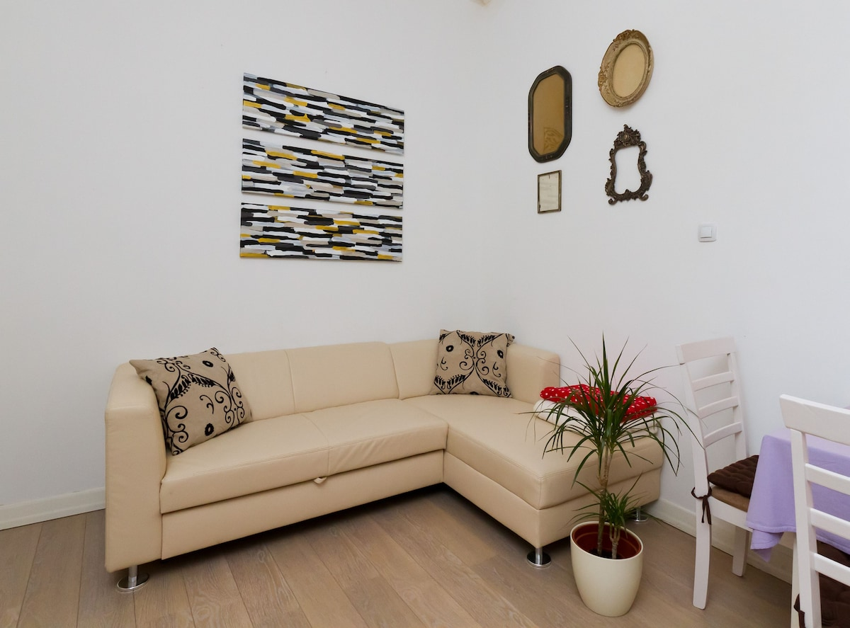 Large living room with extendable sofa and TV including WiFi and dinig table for four people