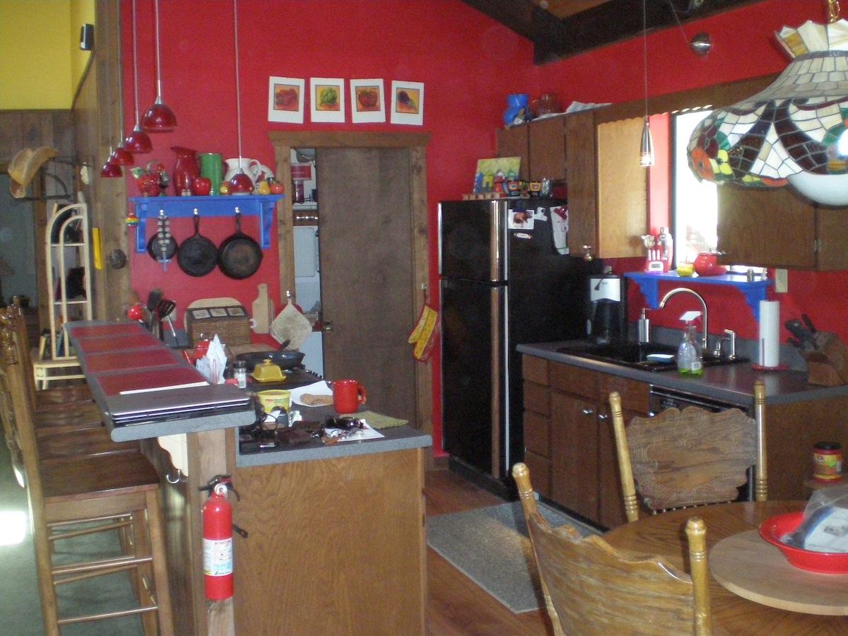 Fully stocked kitchen..