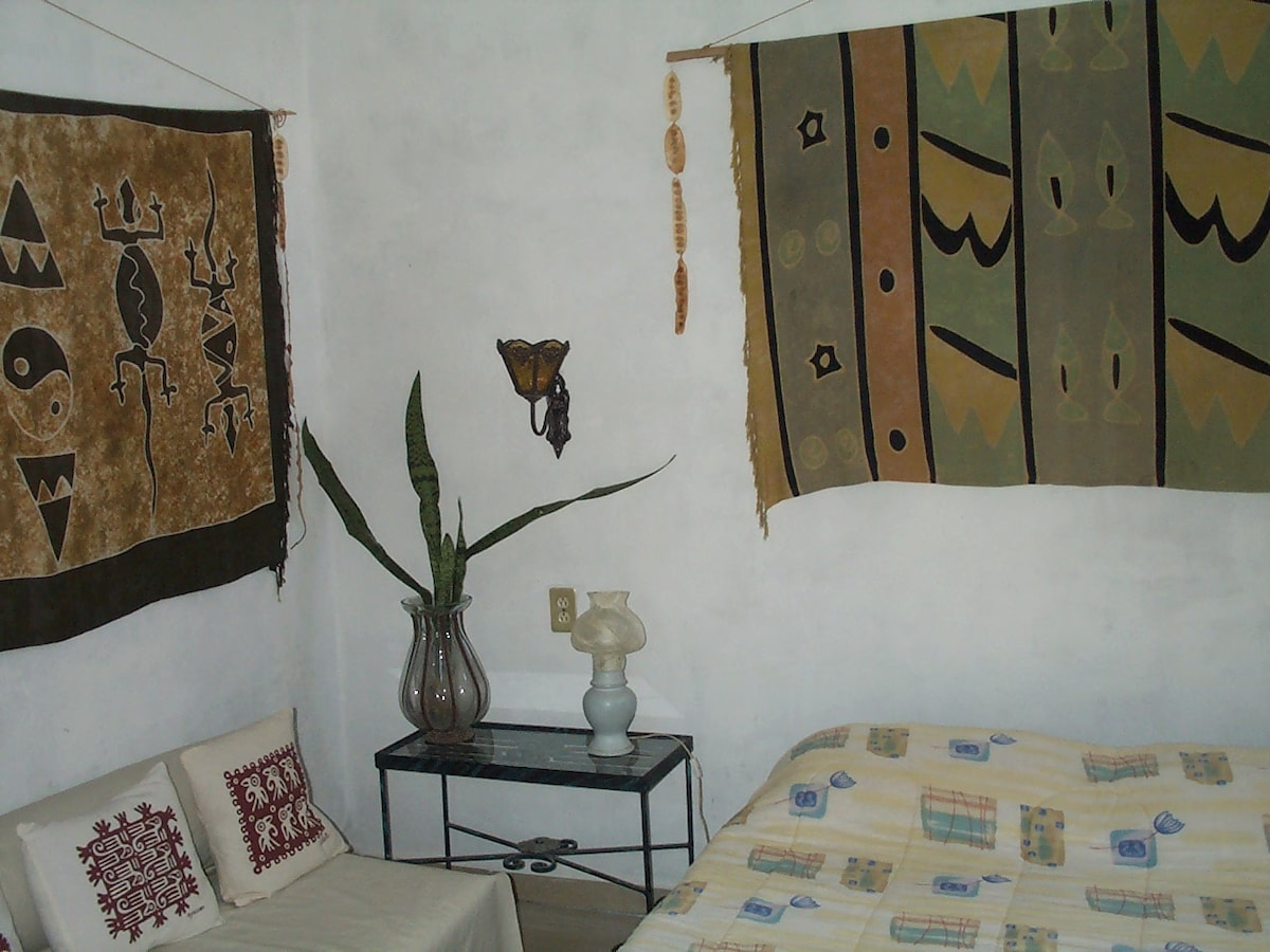 Casitas Kinsol Guesthouse in Puerto Morelos - near Cancun - (website hidden) - Room #5 - A full size bed - The sofa can convert in an individual bed -