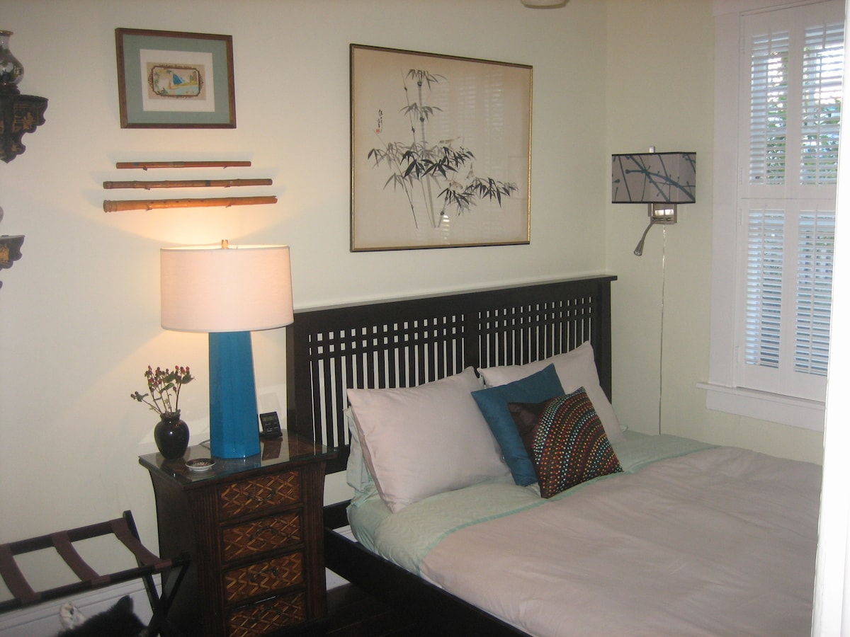 Your cozy room with lots of light, day and night overlooking sweet front garden.