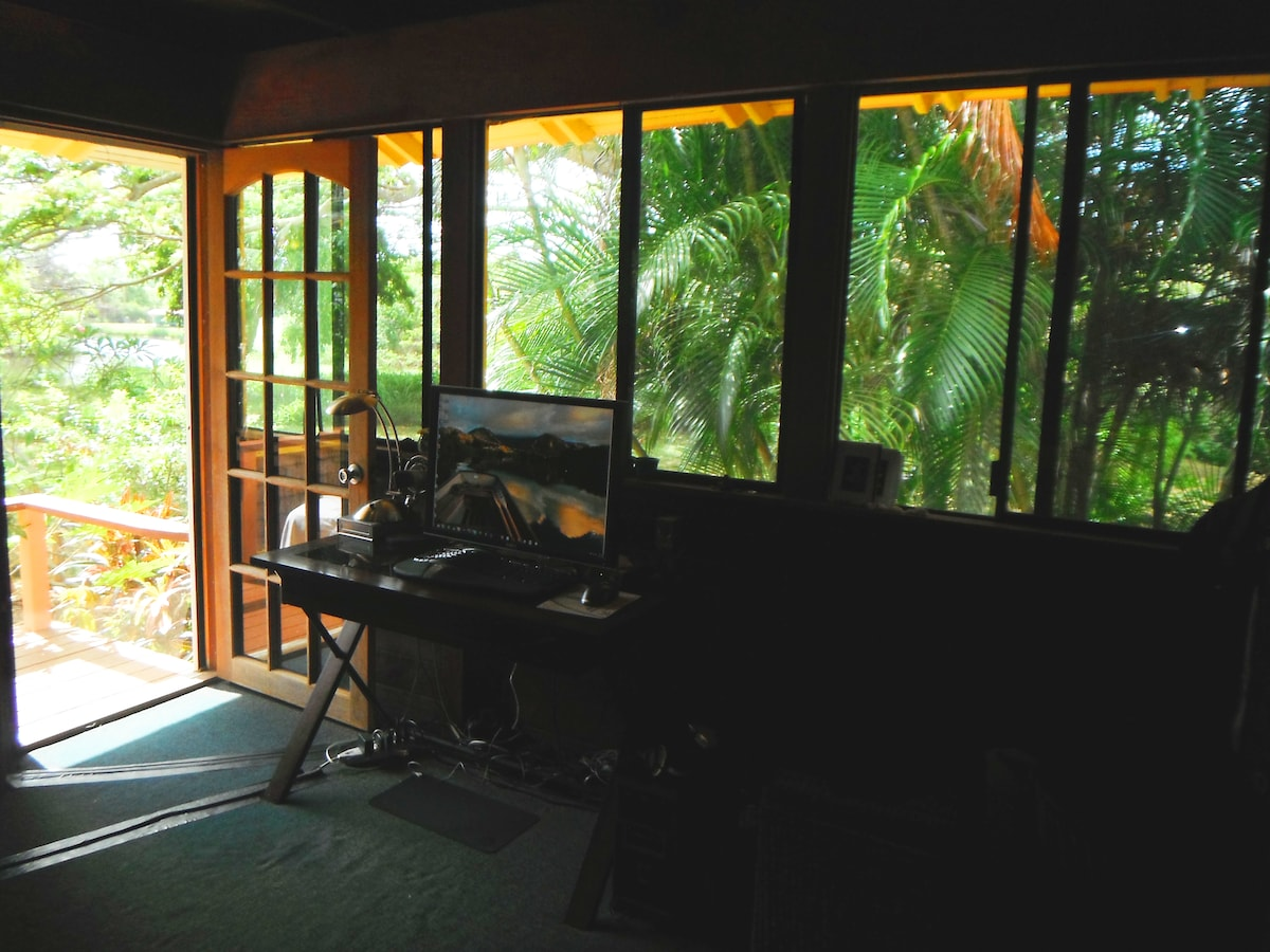 Treehouse surrounded by lush tropical trees and the river view just outside the back door
