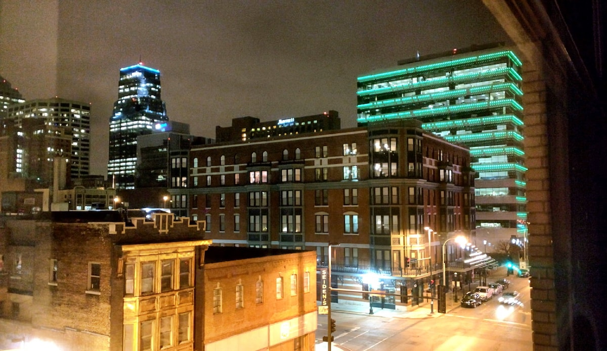 View out of front windows at night.  Downtown KC!