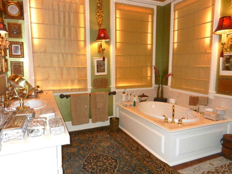 Large luxury double bath with soaking tub in one and and large shower bath next door.