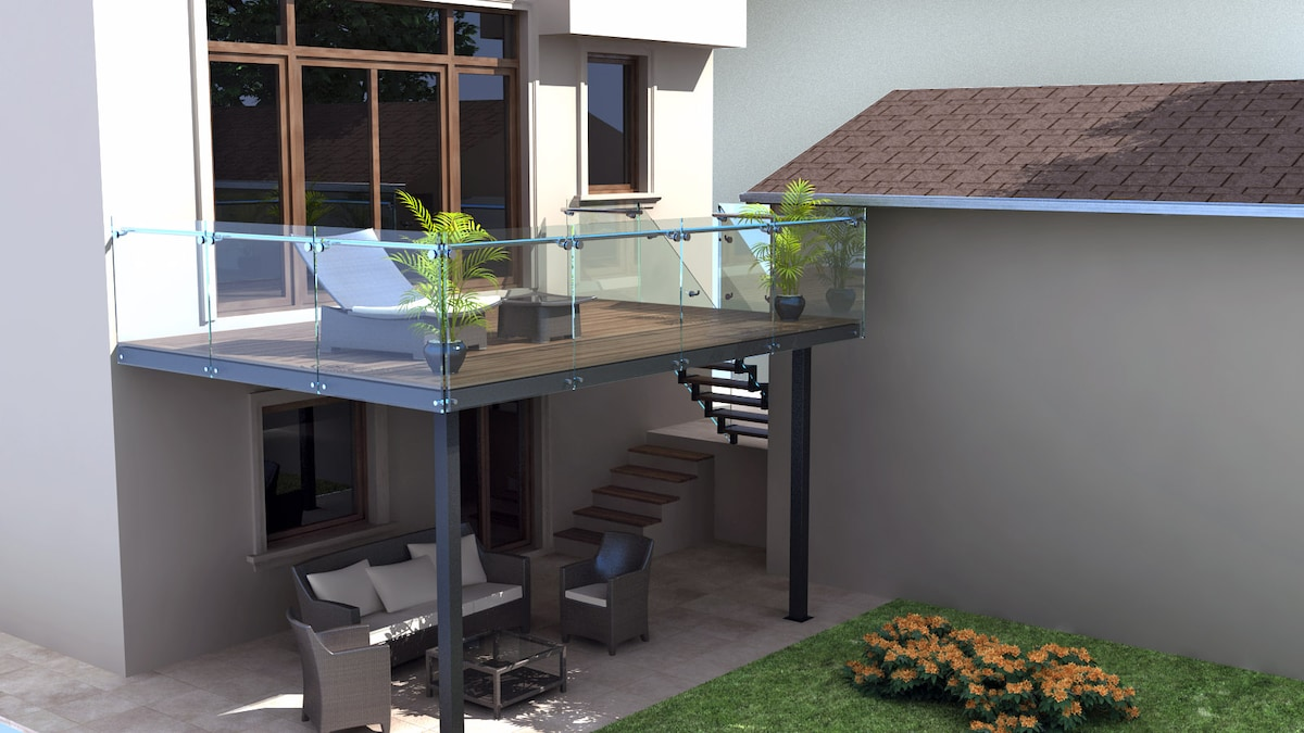 Private covered Patio with view of Garden