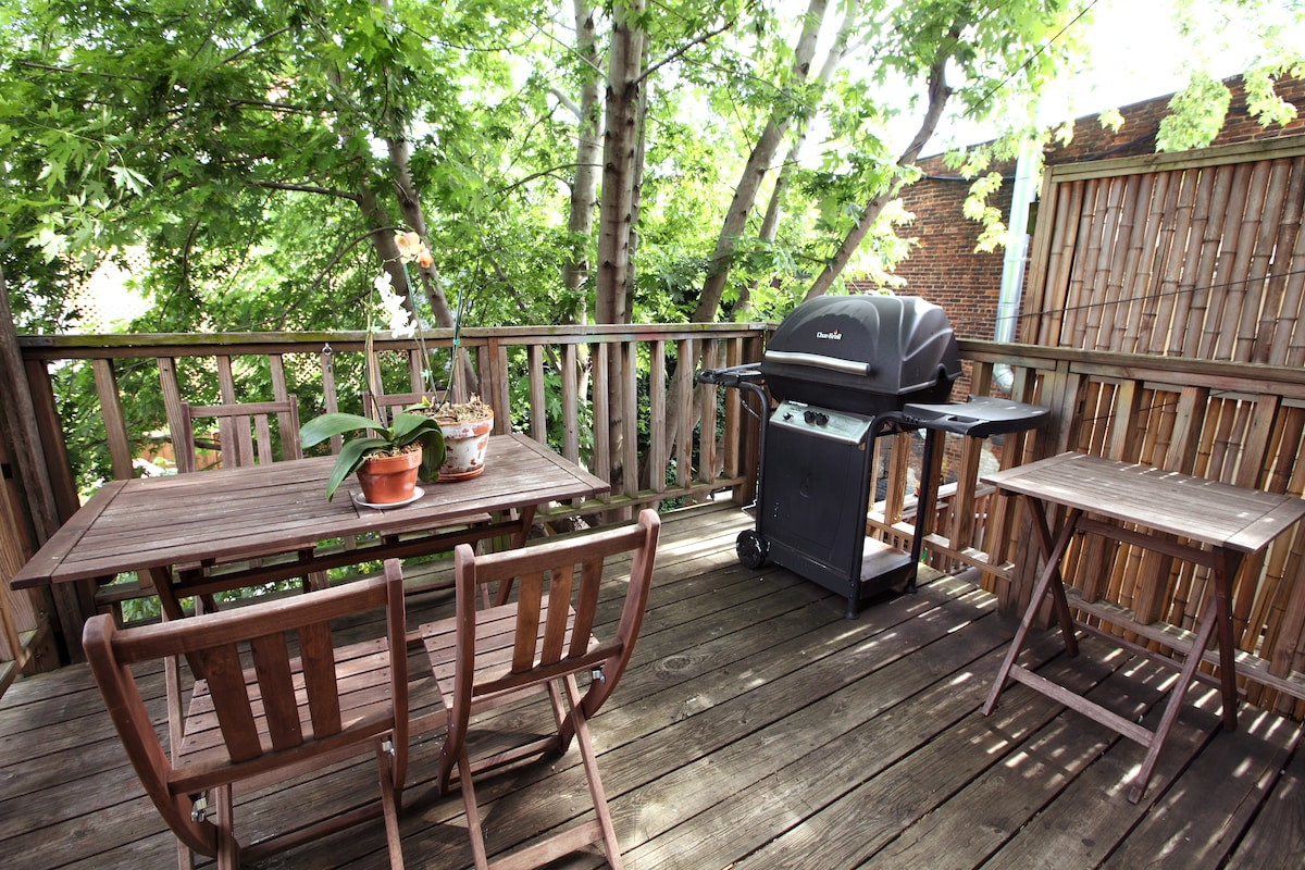 Deck with gas grill...in the summer it feels like a tree-house!