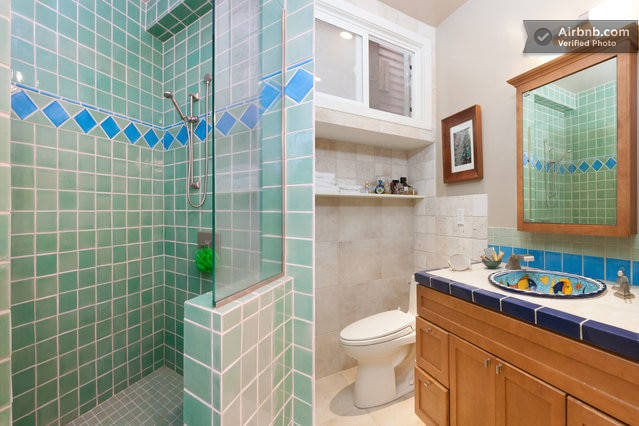 Completely remodeled bathroom with standing shower and amazing water pressure. Stackable washer and dryer at your disposal. Towels and toiletries are also available on demand.