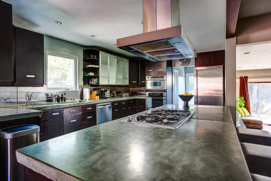 Custom concrete kitchen counter tops.