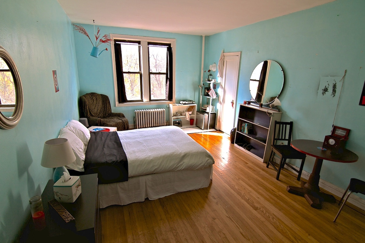 our beautiful room with view of Prospect Park and private bathroom and kitchenette