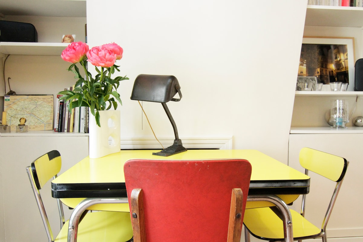 The vintage yellow formica table