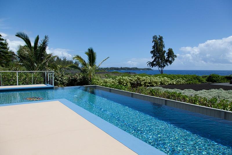 42' long lap pool is salt water. Gentle for eyes and skin