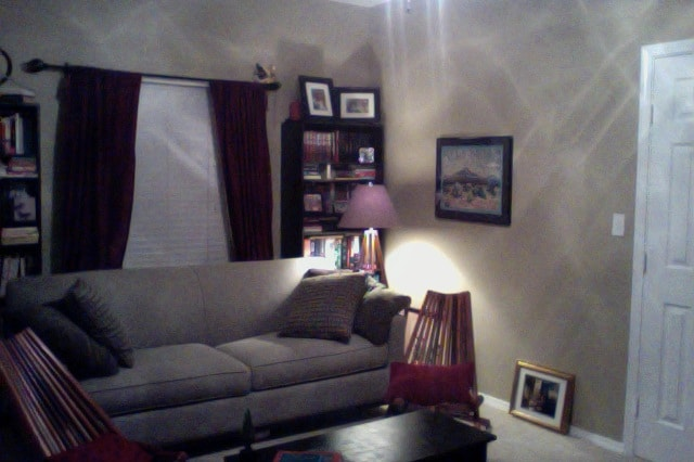 Living room by day, bedroom by night.  Your own private oasis of books, television and music.