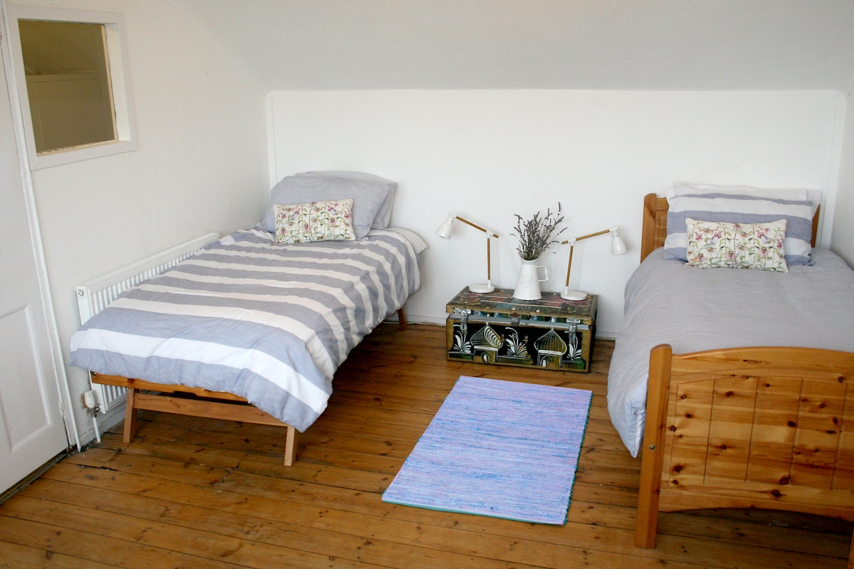 Bright spacious room with twin beds