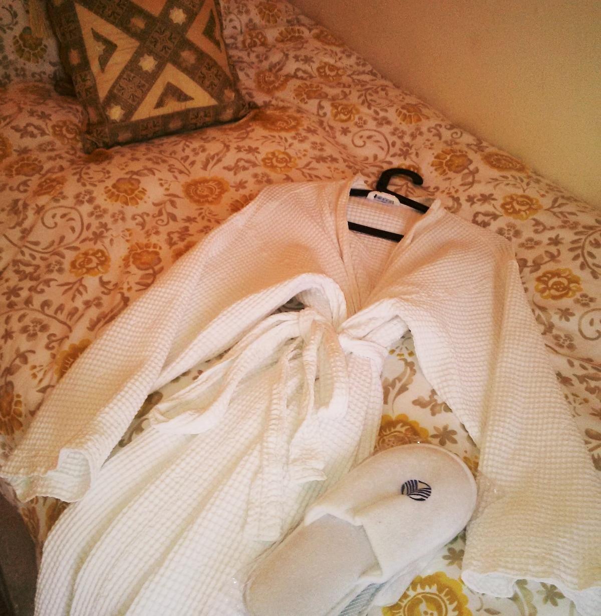 waffle bathrobe and slippers provided