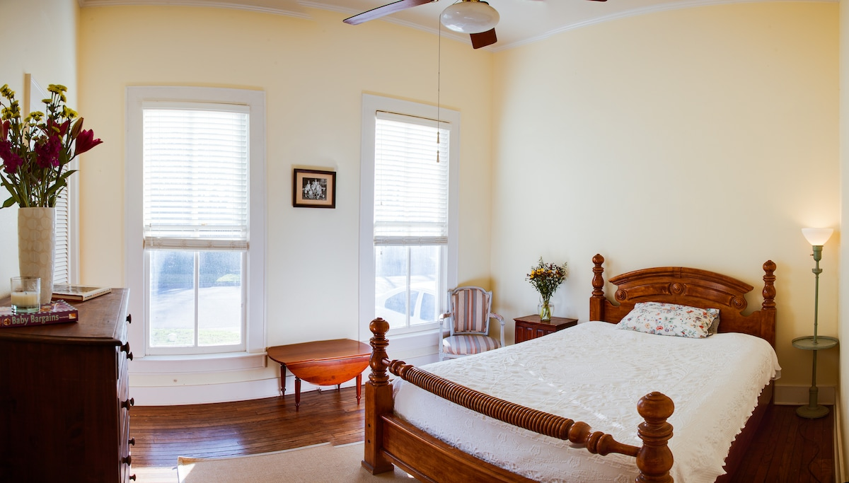 Guest bedroom showing south facing windows