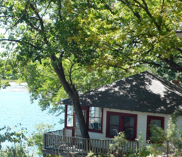 A view of the cabin from the nearby terraces.