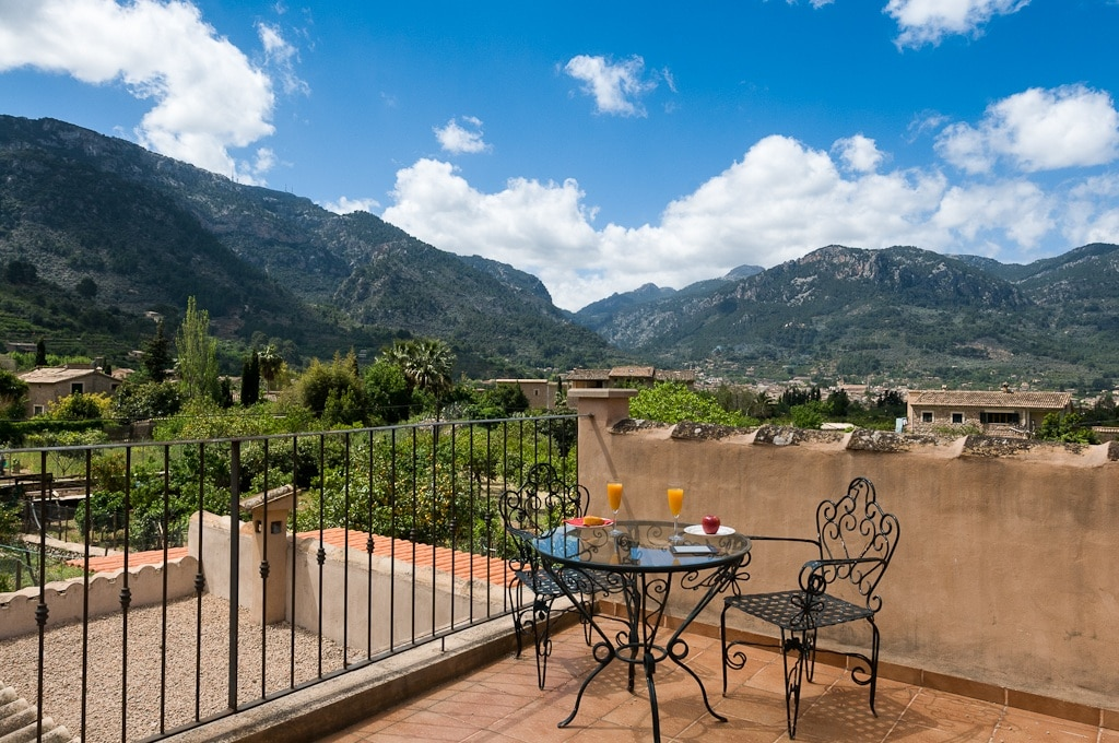 Views from one of the terraces of first floor; the Valley of Sóller and through the town of Sóller