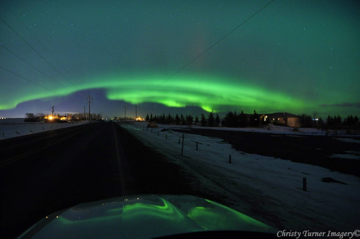 Aurora sometimes seen less than 30 min from my house! Near Airdrie, Alberta