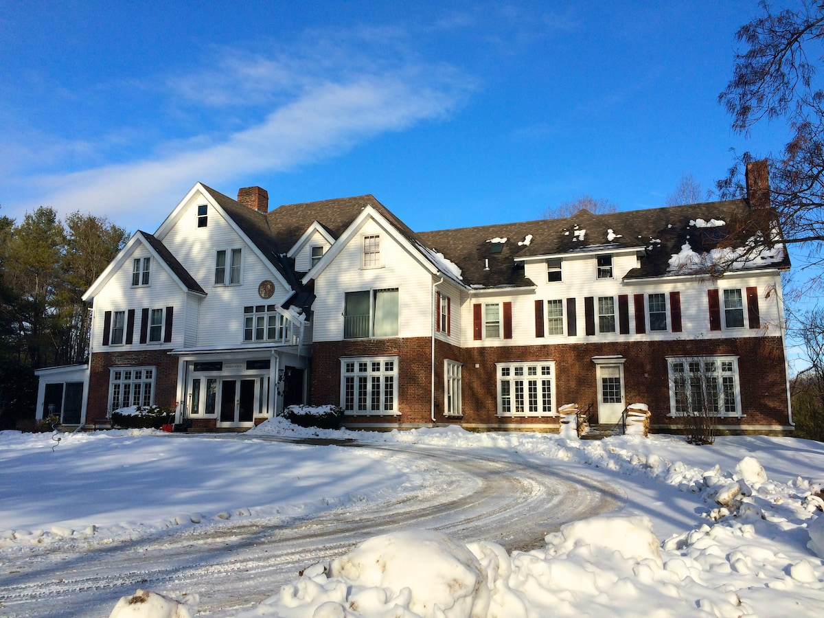 Winter at the Battenkill Valley Mansion. Perfect for ski trips with family, coworkers and friends.