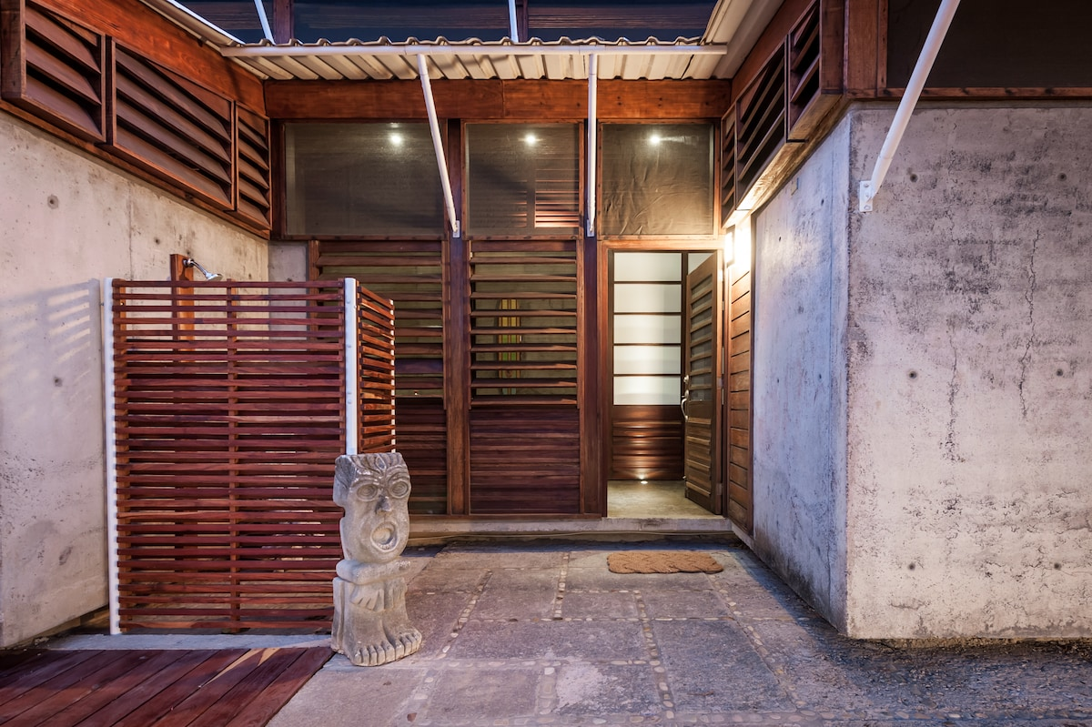 The outside of Casa Selva with your outdoor shower
