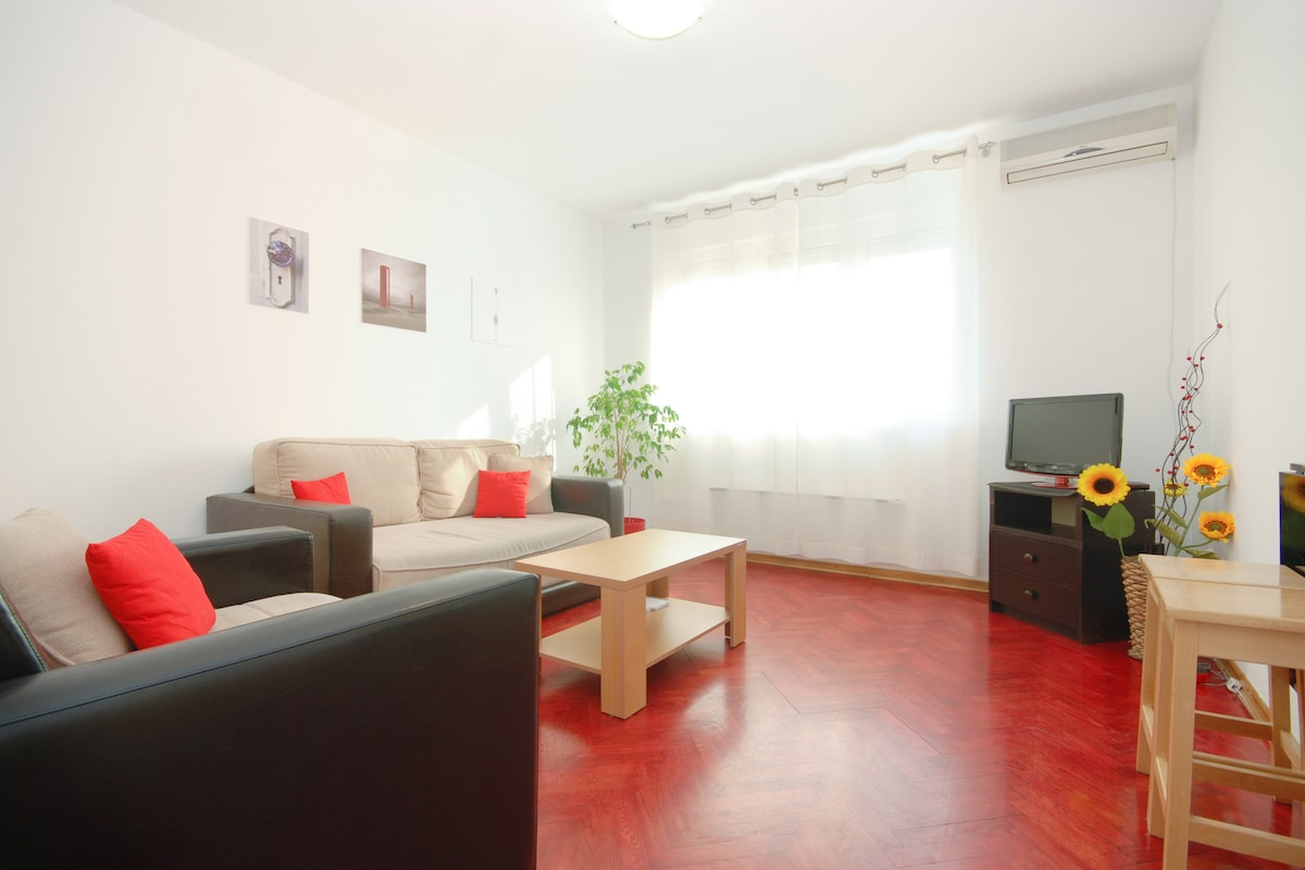 Living room, all set TV, WiFi, 2 pul out sofas for you...