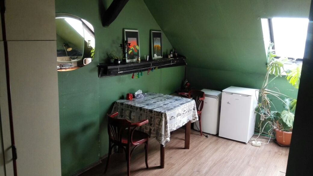 Dining table and fridge, of course