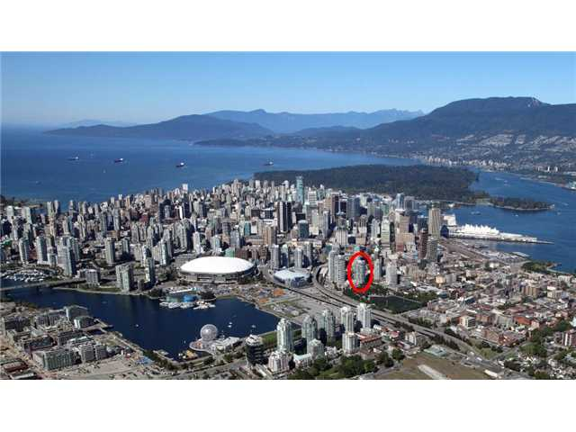 We're the red circled building.  Within a quick walking distance to Rogers Arena, BC Place and just a quick 5 minute subway to Canada Place/Cruise Terminal/Convention Center (where the White Sails building in the right background)