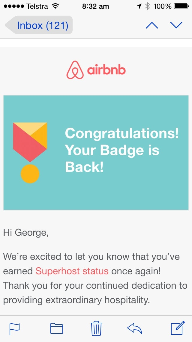 I  am thrilled to have once again qualified for the regular three monthly assessment as an Airbnb Superhost. This makes three consecutive positive assessment periods. Most importantly it's a reflection on the fabulous Guests I've had the pleasure to host.