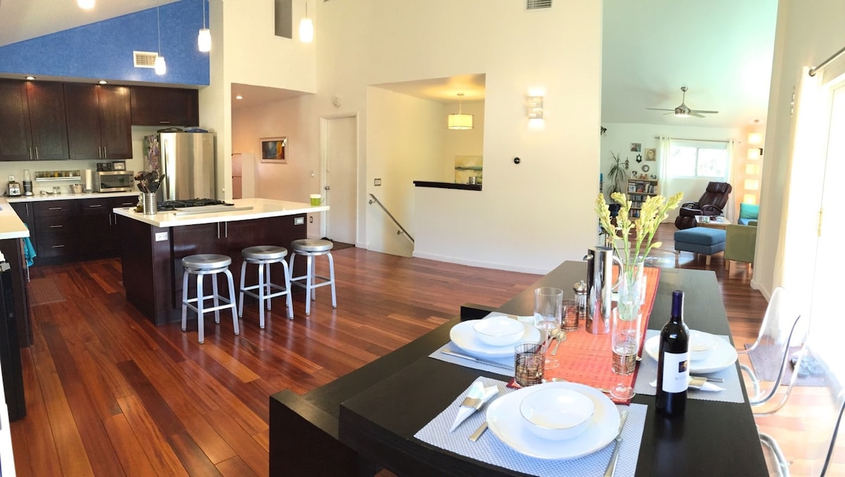 Kitchen and Dining - Full view. High Ceilings and Open Flow