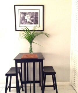 Corner dining table for 2