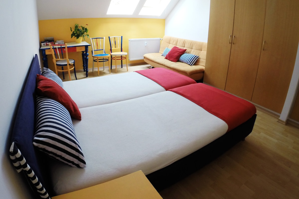 Bright room for 2  or a family