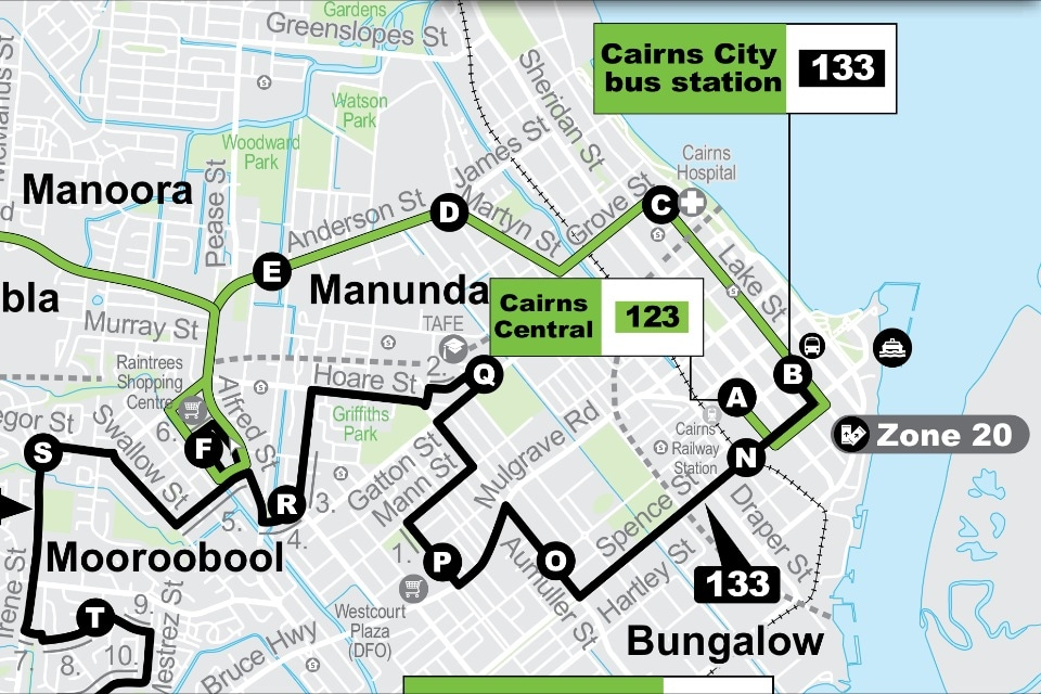 I am located where the O is on this map, it's the same distance as the hospital from the Lagoon. Several Buses depart regularly to do the 7 minute trip into entertainment district.
