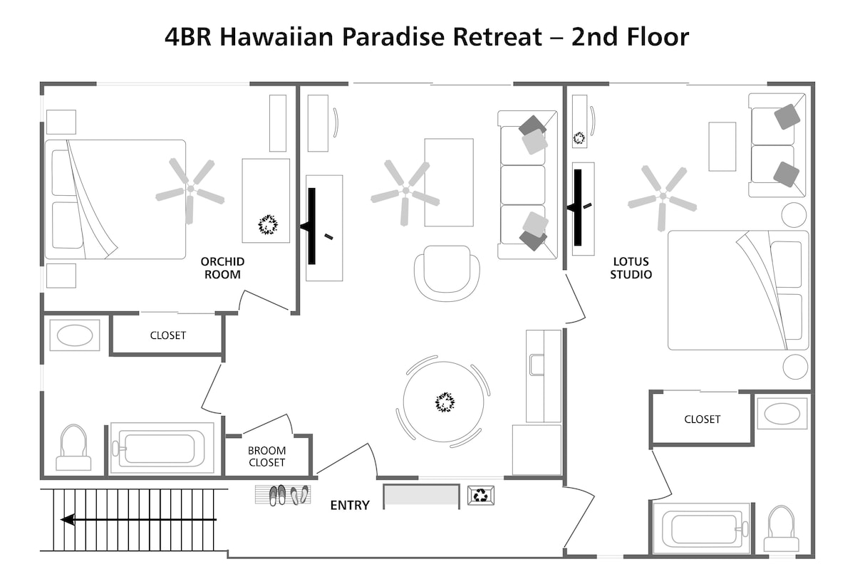 Floorplan for 2nd floor of 4BR rental