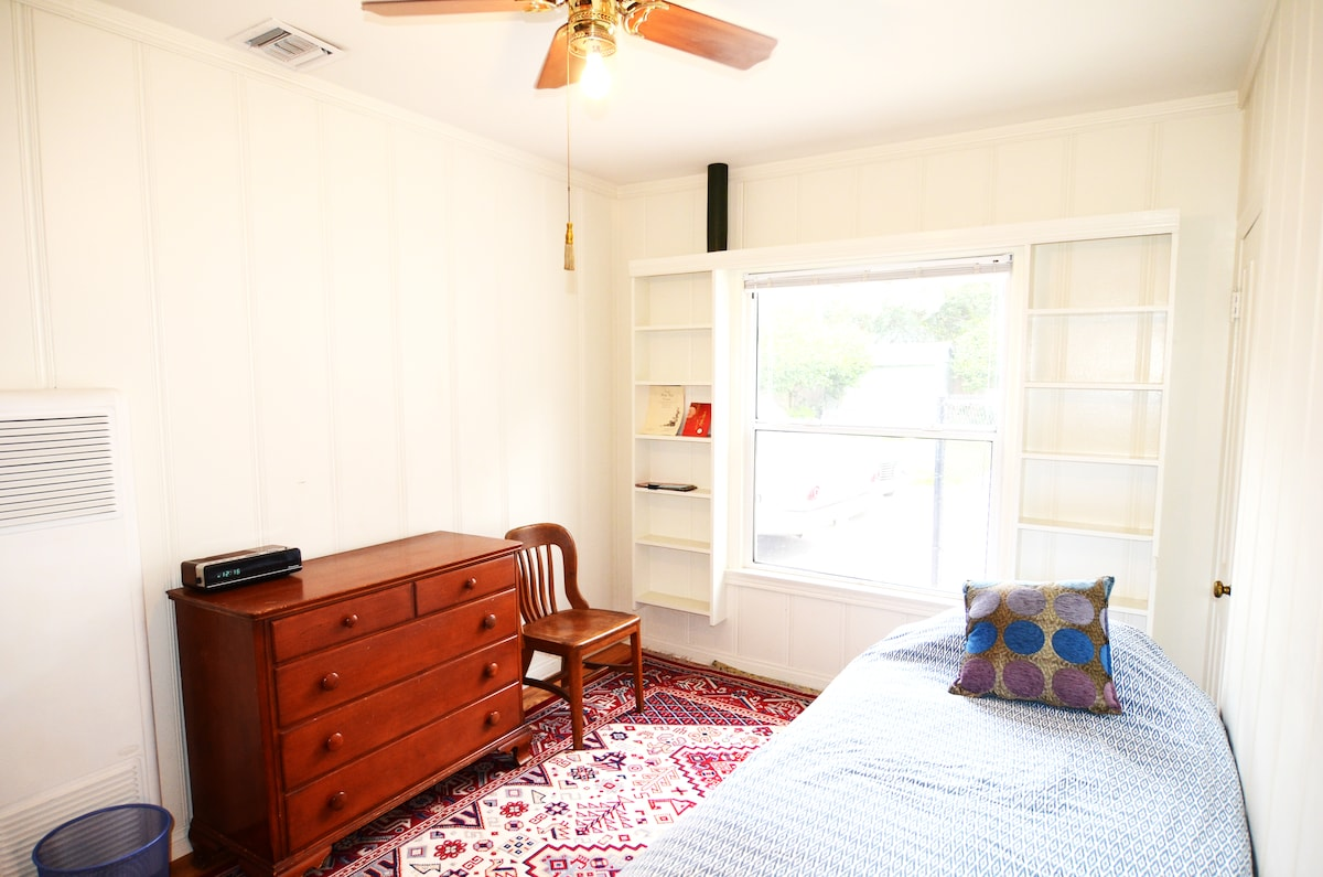 Bedroom # 1 with padded carpet and hardwood floors - now w/double bed