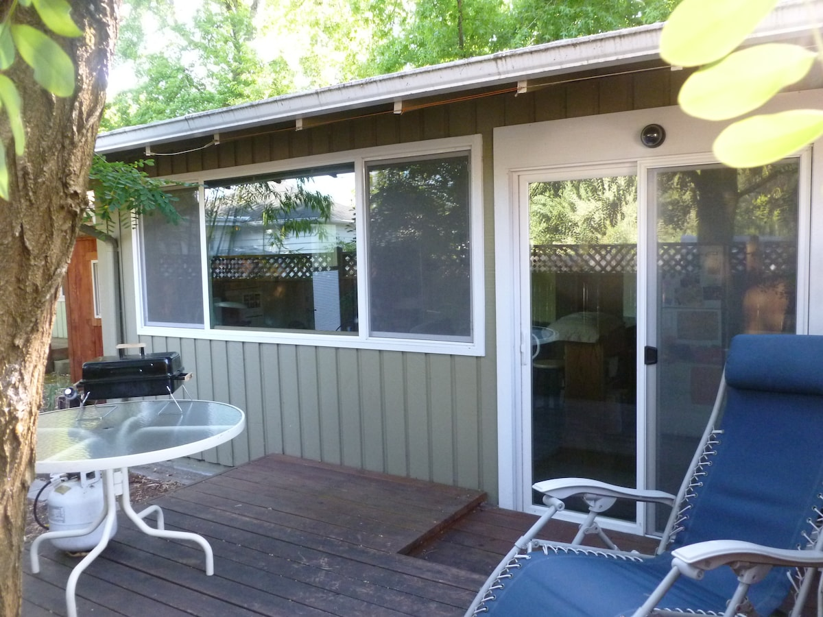 Back deck with barbecue, zero gravity chair.
