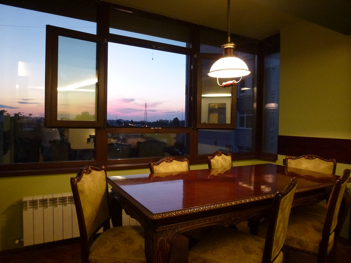 Dining area and view at sunset.