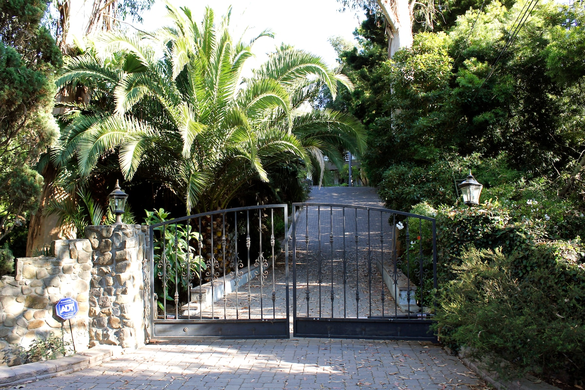 Beautiful Entry Gates Showing the Driveway Leading up to the Estate
