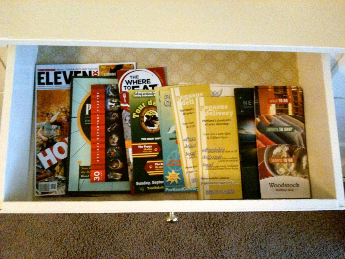 Maps, guides, flyers, take out menus, and local business information
