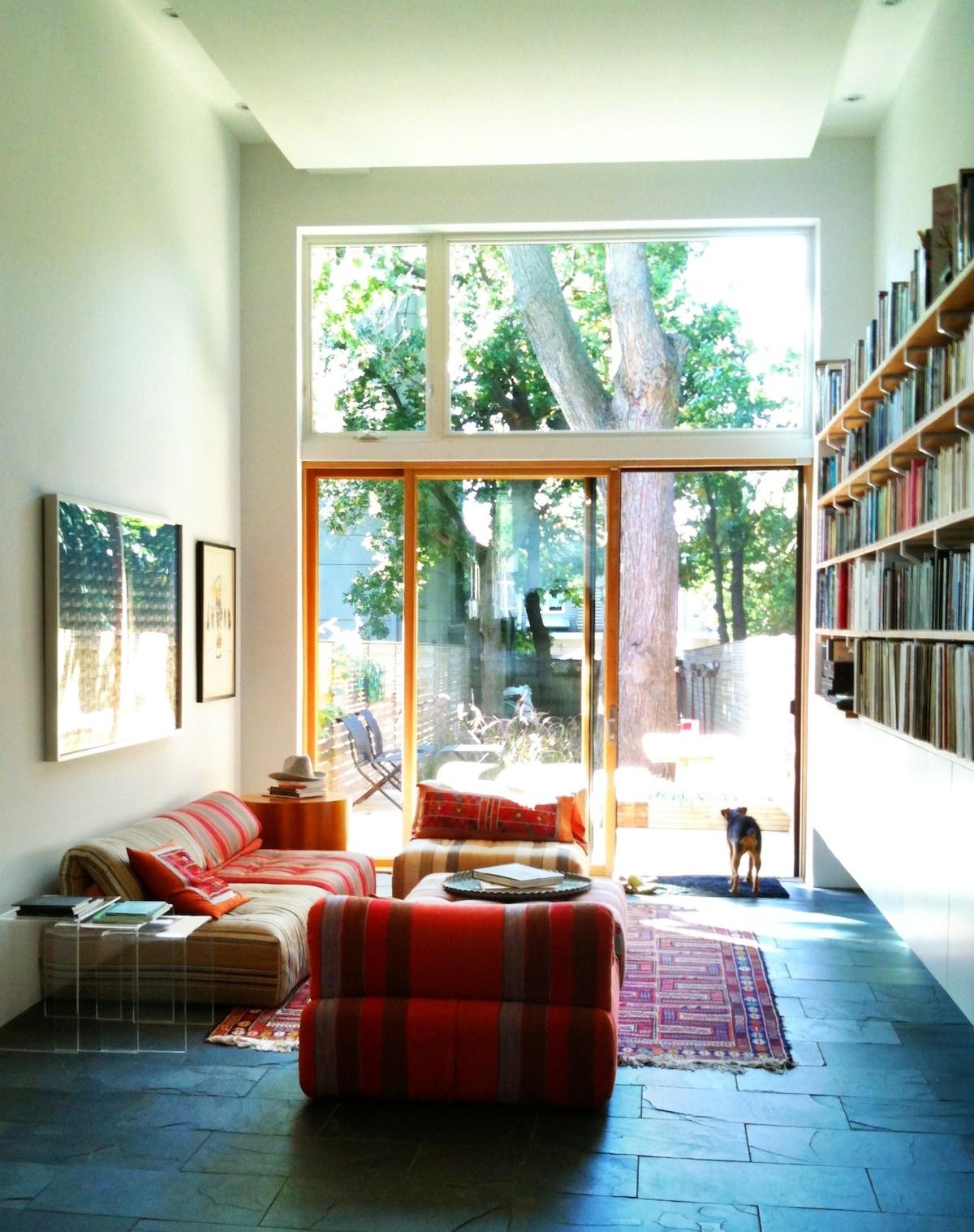 Living Room with door to deck and garden.
