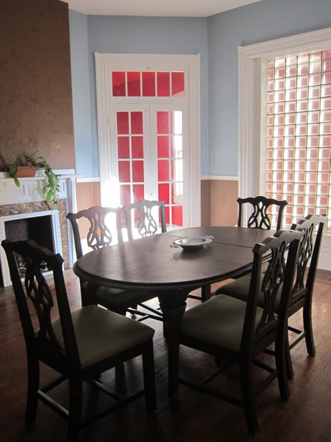 The dining room has more space than you probably will need, but many guests find it to be the perfect place to spread out their work. It's brightly lit and gets beautiful evening light.