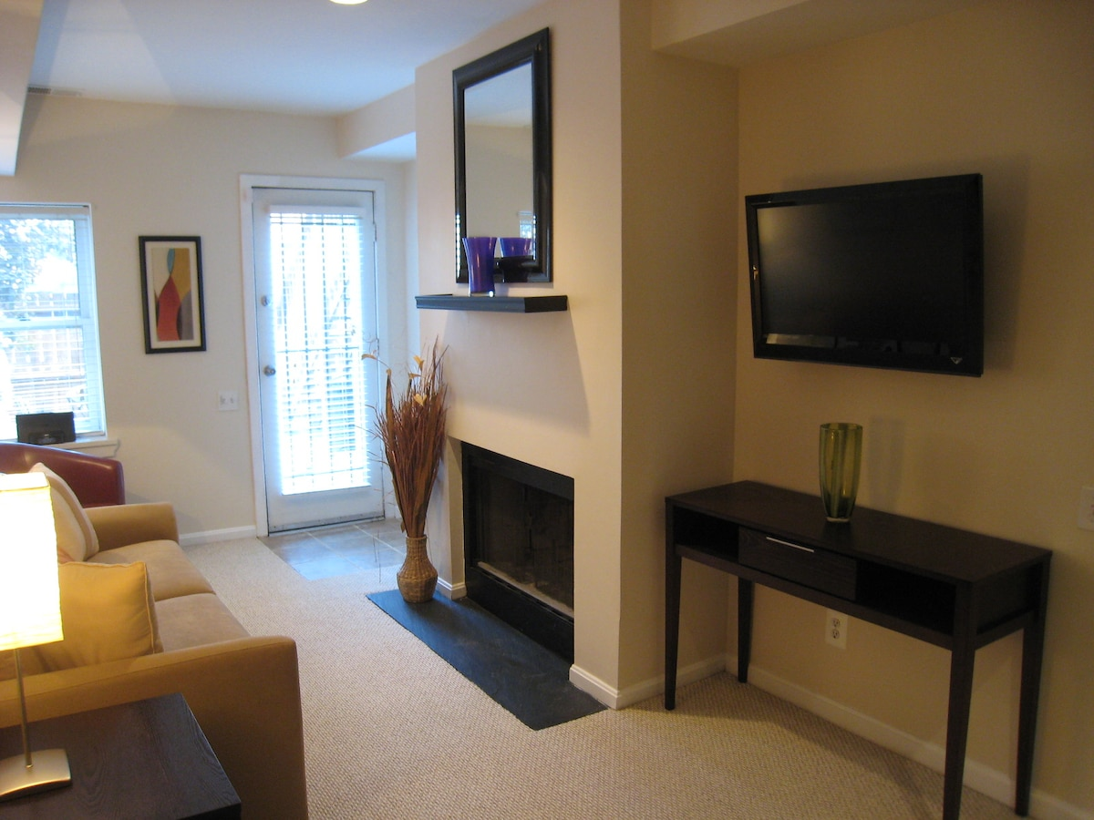 Second entrance, flat screen TV.