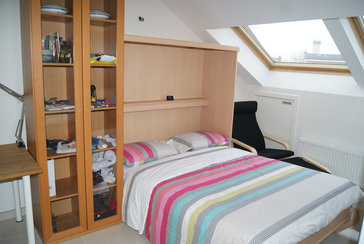 Studio with wardrobe bed, 140cm wide, and view to street.