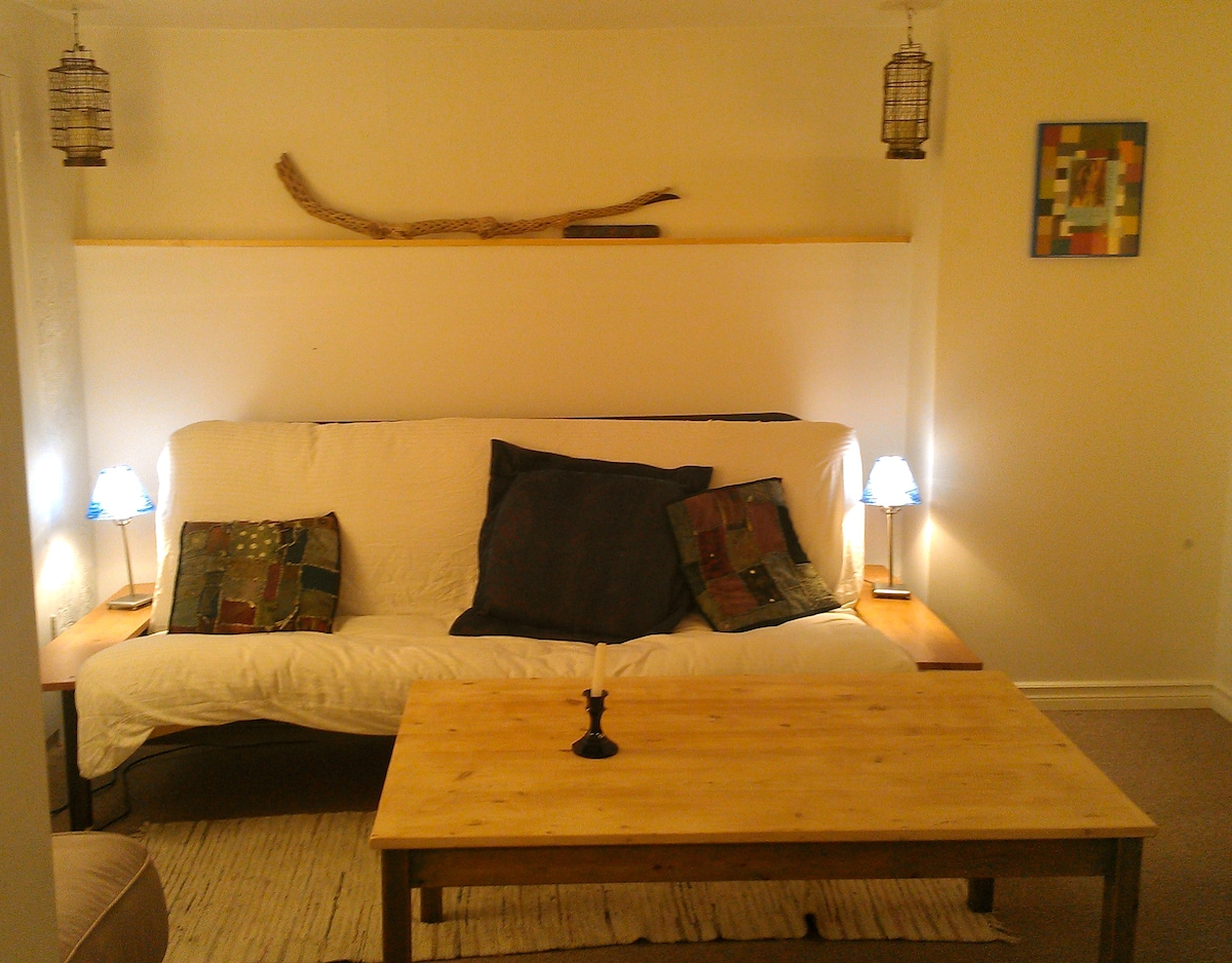 The Blue Room: double futon and table
