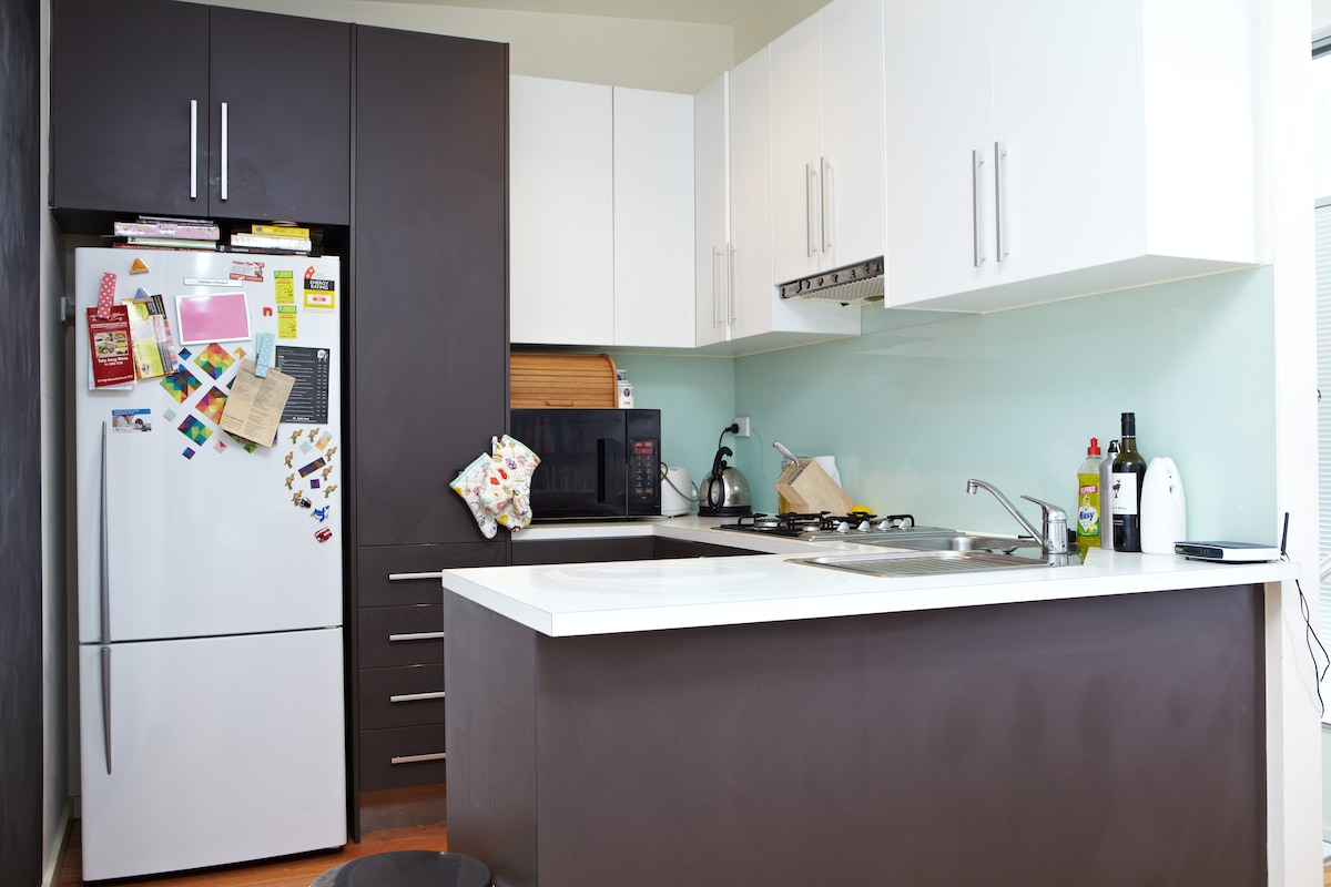 The cheerful kitchen with everything you need plus take away menus for when you can't be bothered