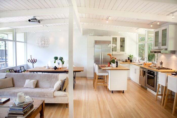 Open loft style living dining area